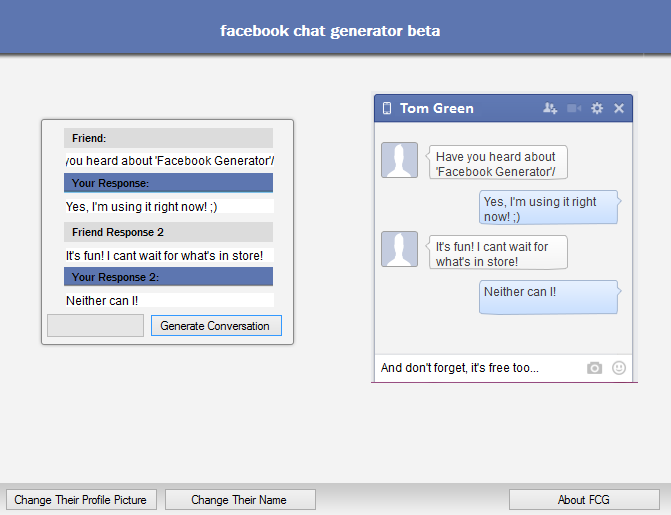 Facebook Fake Chat Generator - Z Projects